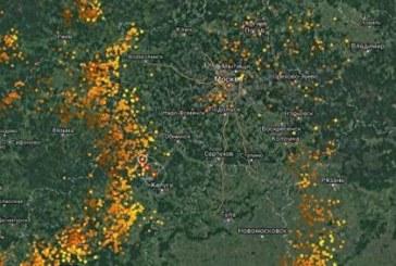 В сети появилась карта с огромным количеством молний над столичным регионом